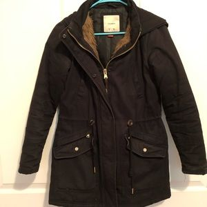 Black Faux-Fur-Lined Winter Coat